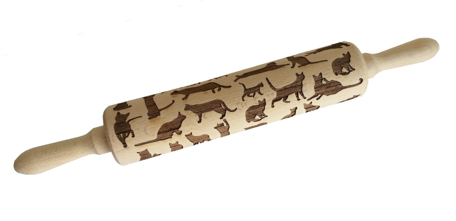 Engraved Cat Rolling Pin for Crazy Cat Bakers
