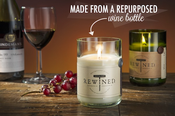 Wine Scented Candles Made from Wine Bottles