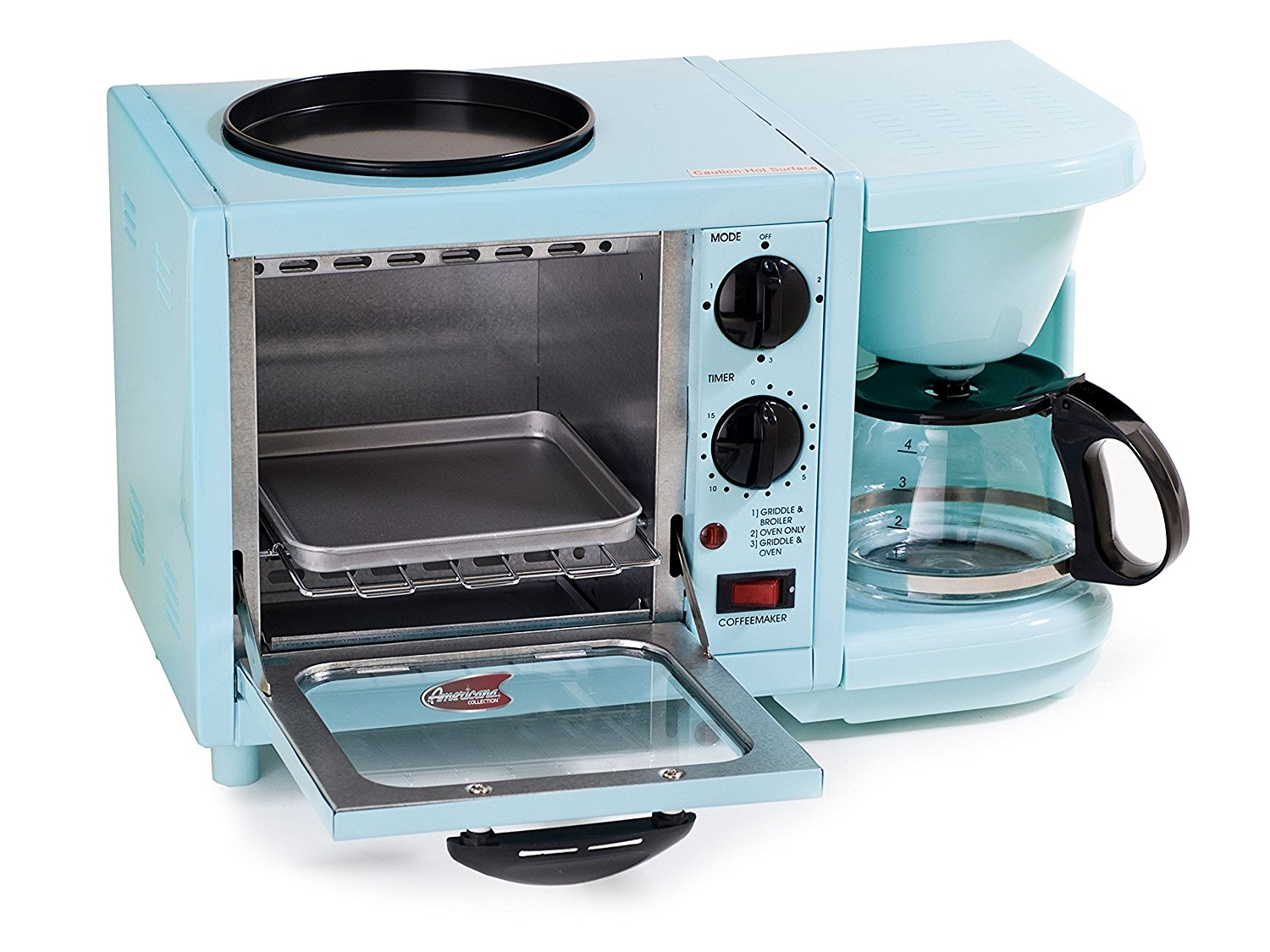 Brew coffee, fry eggs, make toast. A full breakfast with one compact device.