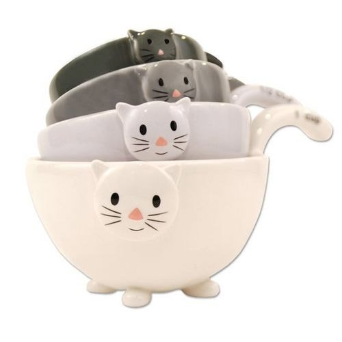 Cream, light gray, dark gray, and black ceramic cat measuring cups