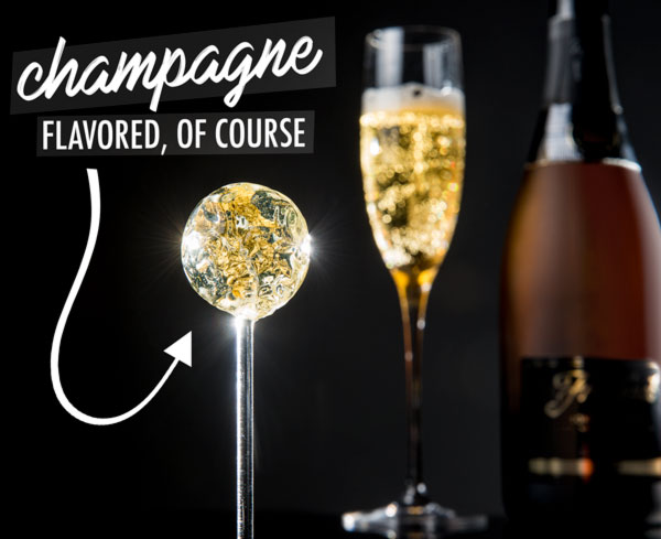 Champagne lollipops - a fun way to celebrate New Year's Eve or any other special occasion!