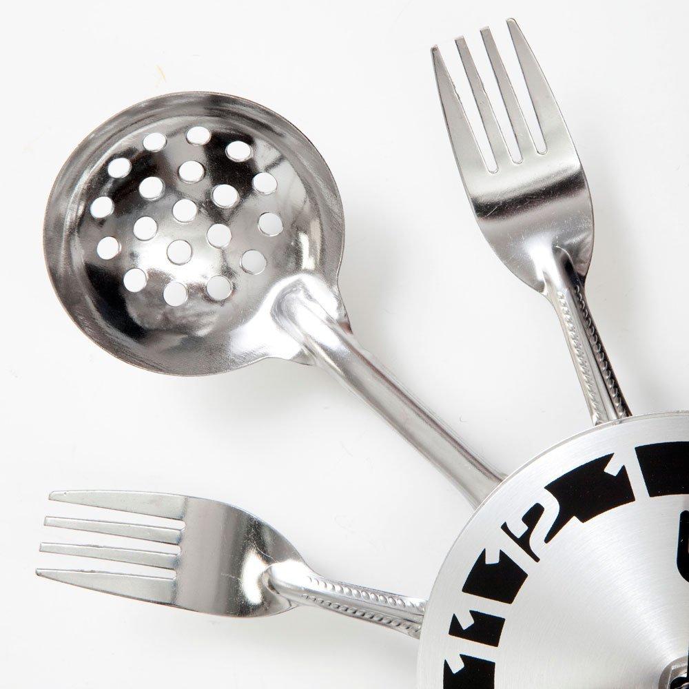 "Uniquebella Metal Kitchen Cutlery Utensil Wall Clock Spoon: Kitchen Utensil Clock For Answering ""When's Dinner?"""