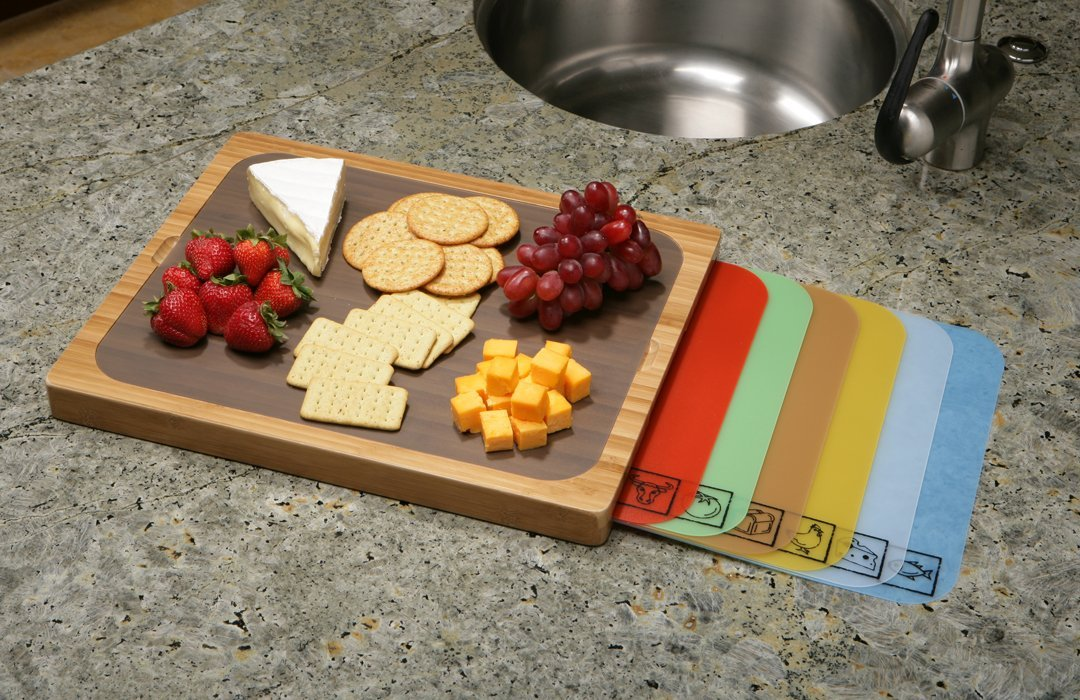 Beautiful cutting board with convenient mats