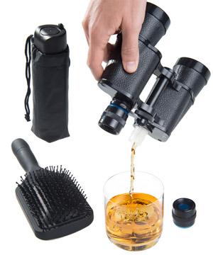 Hidden flasks shaped like hairbrush, umbrella, or binoculars