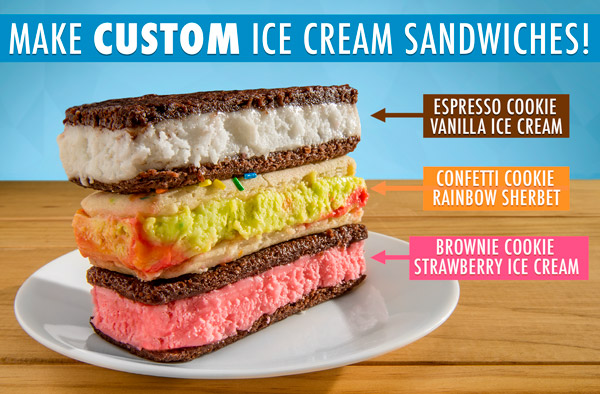 Make your own ice cream sandwiches with whatever flavor combinations you want!