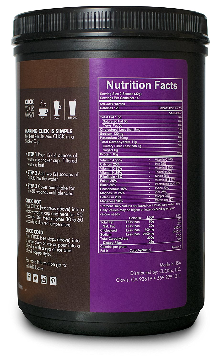 2 scoops have 120 calories, only 6 grams of sugar, and 16 grams of protein!