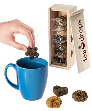 Eight organic instant tea drops in a lovely wooden gift box