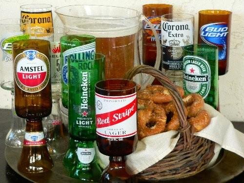 Wine Glasses Made from Beer Bottles