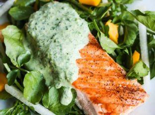 Grilled Salmon with Herb Yogurt Sauce