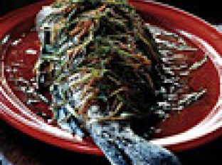 Whole Black Bass with Ginger and Scallions Image