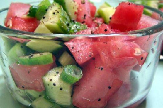 Sweet & Sour Watermelon Cucumber Salad