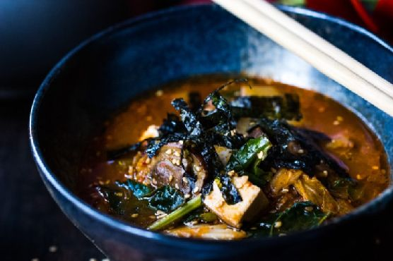 Kimchi Soup with Shiitakes, Tofu and Kale