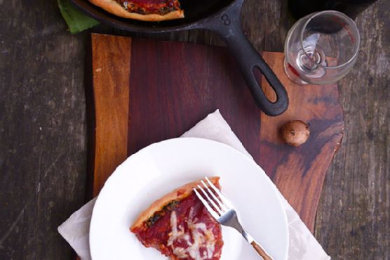 Spinach Mushroom Pizza Pie