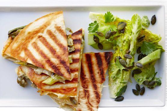 Spring onion quesadillas with guacamole salad