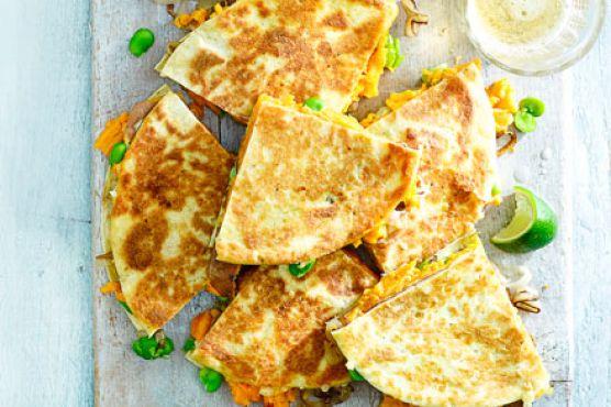 Sweet potato & shallot quesadillas