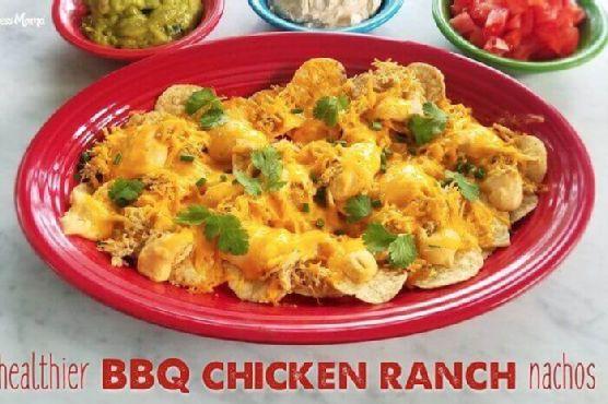 Healthier BBQ Chicken Ranch Nachos
