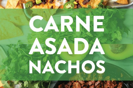 BEST NACHOS EVER! Loaded with the easiest, most tender carne asada, sharp cheddar, pico de gallo, avocado, jalapeno + drizzle of queso