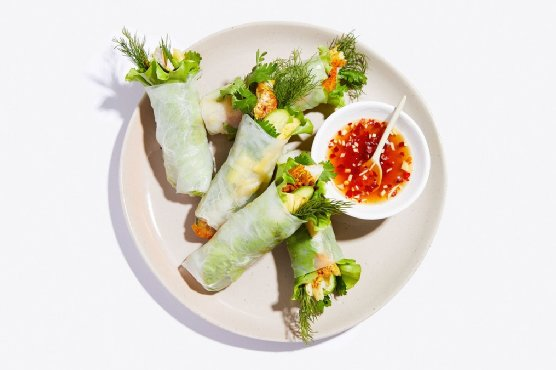 Vietnamese Turmeric Fish Summer Rolls
