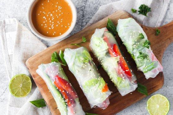 Gluten-Free Vegan Spring Rolls with Spicy Peanut Sauce