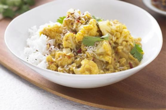 Yellow lentil & coconut curry with cauliflower