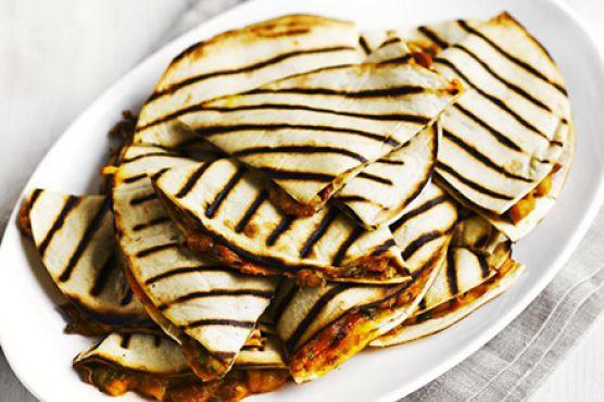 Cheesy bean & chipotle quesadillas