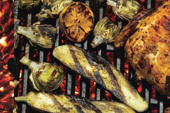 Grilled Lemons, Baby Artichokes, And Eggplant