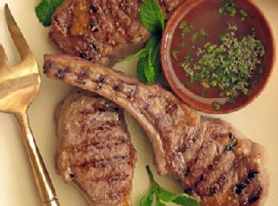 Grilled Lamb Chops with Peppercorns and Savory Mint Sauce