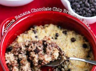Quinoa Banana Chocolate Chip Breakfast Bake