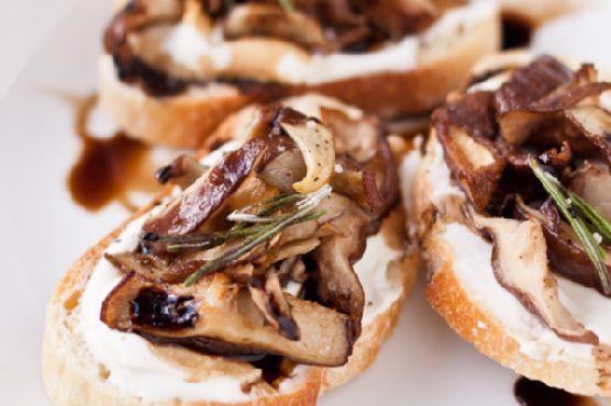 Crostini with Roasted Shiitake Mushrooms + Whipped Ricotta