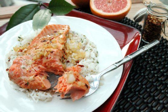 Tented Salmon in Grapefruit Marinade