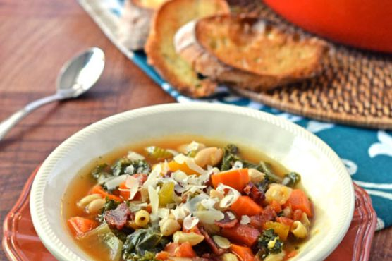 Minestrone Soup with Butternut Squash, Kale and White Beans {How We Eat on a Budget}