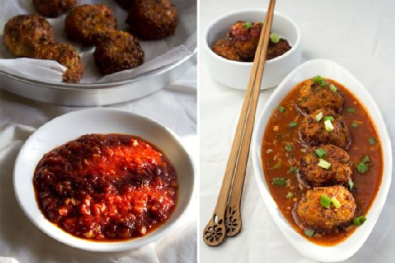 veg balls in hot garlic sauce – indo chinese