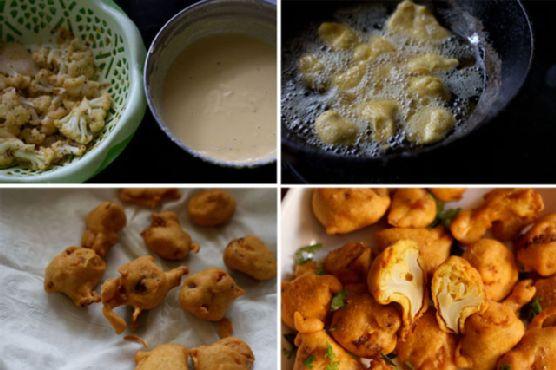 gobi pakora , how to make gobi pakoras or cauliflower fritters