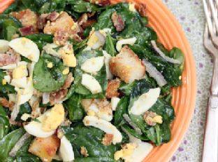 Tossed Bacon, Hard-Boiled Egg and Spinach Salad