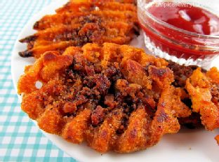 Candied Bacon Sweet Potato Waffle Fries Image