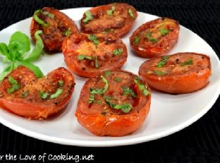 Balsamic Roasted Tomatoes with Fresh Basil Image