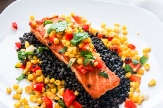 Pan Seared Salmon with Roasted Corn Salsa Served over Black Lentils + Relished Foods Delivery Giveaway–OVER