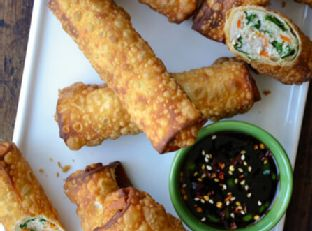 Kale and Chicken Egg Rolls with Ginger Soy Dip