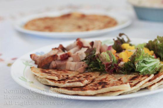 Paratha with roast pork and two-mango salad
