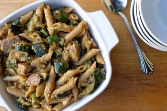 """Rustic Italian Zucchini """"Sauce"""" with Penne and Chicken Sausage"""