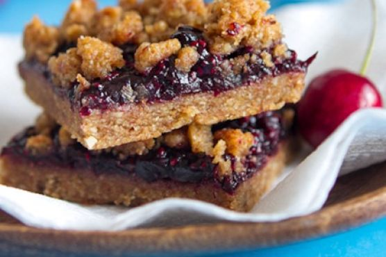 Triple Almond Cherry Crumble Squares