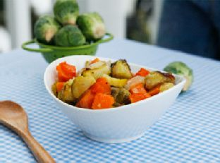 Roasted Butternut Squash, Brussels Sprouts and Onions Image