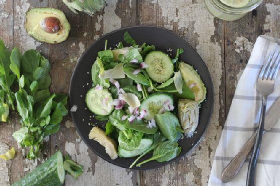 Avocado Artichoke Arugula & Spinach Salad