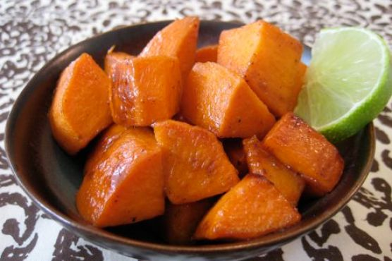 Glazed Sweet Potatoes with Maple Syrup & Lime