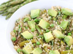 Quinoa Salad with Asparagus, Peas, Avocados & Lemon Basil Dressing