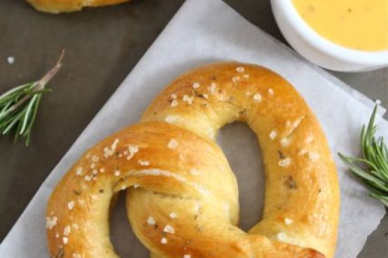 Rosemary Sea Salt Pretzels with Rosemary Cheddar Cheese Sauce