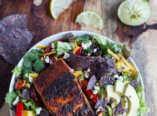 Chile Lime Salmon Fajita Salad with Cilantro Lime Vinaigrette