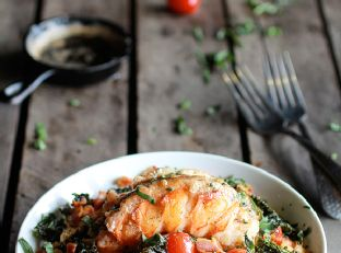 Brown Butter Lobster, Bacon + Crispy Kale and Fontina Pasta