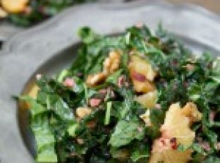 Kale Salad with Cranberry Vinaigrette and Walnuts Image