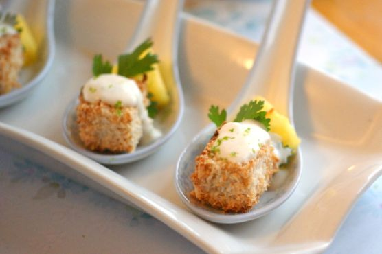 Coconut Crusted Tofu & Pineapple Bites with Creamy Green Curry Sauce